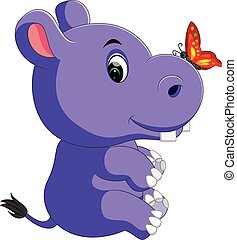 cute baby hippo Cartoon