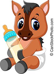 Cute baby horse car - illustration of Cute baby horse...