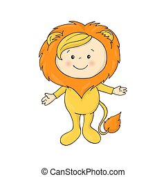 illustration of cute baby in a lion fancy dress costume...