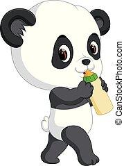 cute baby panda holding bottle