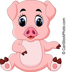 cute baby pig cartoon - illustration of cute baby pig...