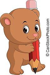 Cute bear cartoon holding pencil