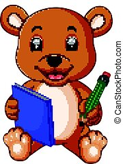 cute bear reading book