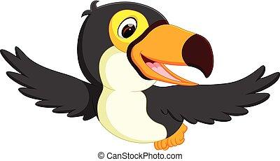 cute bird toucan flying