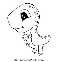 Cute Black and White Cartoon of Baby T-Rex Dinosaur -...