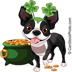 Boston Terrier celebrates Saint Pat - Illustration of cute...