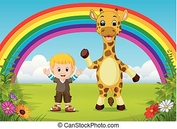 cute boy and giraffe at park with rainbow scene