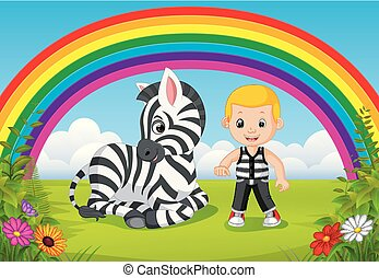 cute boy and zebra at park with rainbow scene