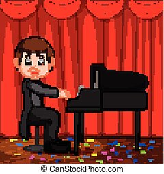 Cute boy cartoon playing piano