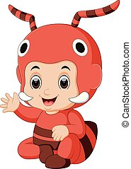 Cute boy cartoon wearing ant costume