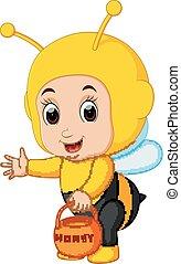 Cute boy cartoon wearing bee costume