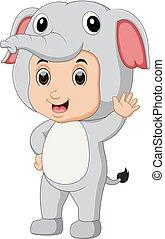 Cute boy cartoon wearing elephant costume