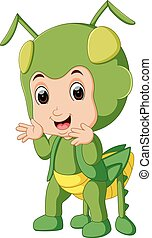 Cute boy cartoon wearing grasshopper costume