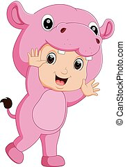 Cute boy cartoon wearing hippopotamus costume