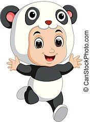 Cute boy cartoon wearing panda costume