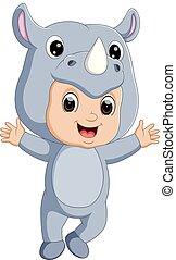 Cute boy cartoon wearing rhinoceros costume