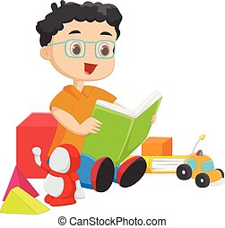 cute boy reading a book with toys
