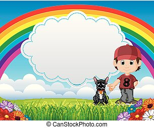 cute boy with dog in the park on rainbow day