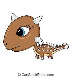Illustration of Cute Cartoon Baby Ankylosaurus Dinosaur. Vector EPS8.