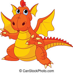 Illustration of Cute Cartoon baby dragon pointing