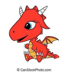 Illustration of Cute Cartoon Baby Dragon. Vector EPS 8.