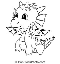 Illustration of Cute Cartoon Baby Dragon.Vector EPS 8.