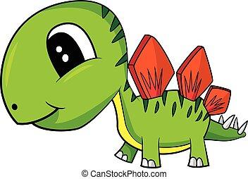 Illustration of Cute Cartoon Baby Stegosaurus Dinosaur