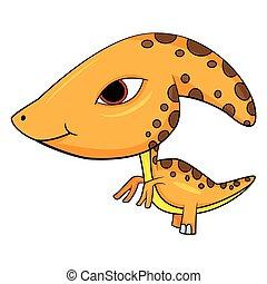Illustration of Cute Cartoon Baby Parasaurolophus Dinosaur. Vector EPS8.