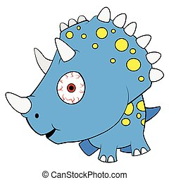 Illustration of Cute Cartoon Blue Baby Triceratops Dinosaur