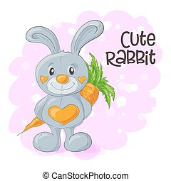 Illustration of cute cartoon bunny with a carrot. Vector