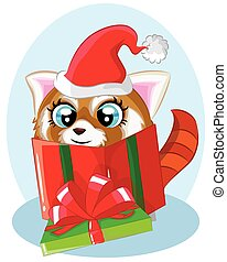 Illustration of cute cartoon christmas raccoon with gift in a green gift box.