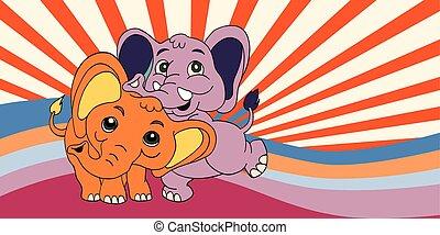 Illustration of Cute cartoon elephant. Vector illustration