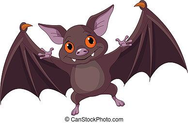 Halloween bat flying - Illustration of Cute Cartoon ...
