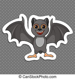 Illustration of Cute Cartoon Halloween bat flying