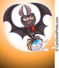 Illustration of Cute Cartoon Halloween bat  flying