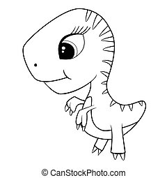 Illustration of Cute Cartoon of Green Baby T-Rex Dinosaur
