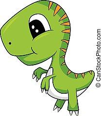 Cute Cartoon of Green Baby T-Rex Dinosaur - Illustration of...