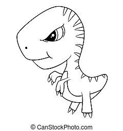 Illustration of Cute Cartoon of Green Baby T-Rex Dinosaur....