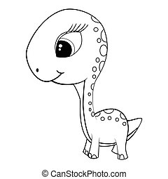 Illustration of Cute Cartoon of Green Baby Brontosaurus...