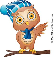 Cute Cartoon owl in a hat and scarf on tree branch