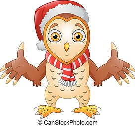 Cute Cartoon Owl in a Santa hat