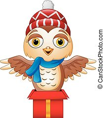 Cute cartoon owl on gift box