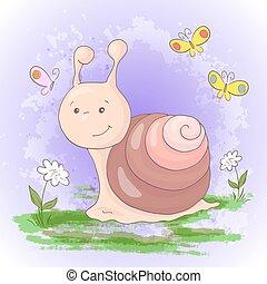 Illustration of cute cartoon snail flowers and butterflies. Vector