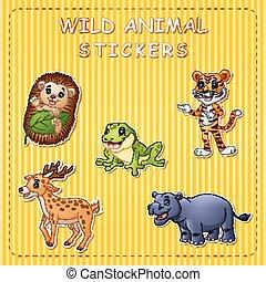 Illustration of cute cartoon wild animals on stikersc -...