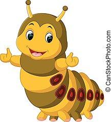Cute caterpillar presenting - illustration of Cute ...