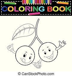 cute cherry with face coloring book