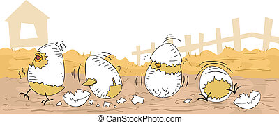 Chicken Hatchlings - Illustration of Cute Chicken Hatchlings...