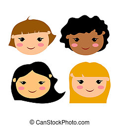 Illustration of cute children faces