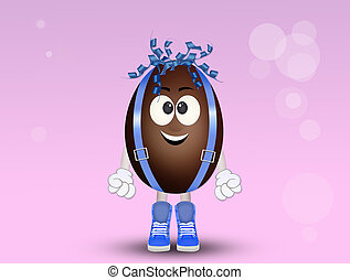 cute chocolate egg with a funny face