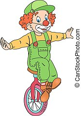 Clown on Unicycle - Illustration of Cute Circus Clown on...